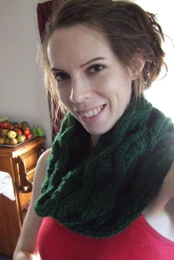 Spontaneous summer selfie with the knitted cowl. Now, quick, take it off; it's too hot!