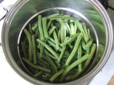 Steaming green beans from the garden.