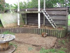 I sledgehammered out the wooden sides of the ancient sandpit and the fort sides are ready for cutting.