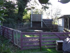 The next temporary pen. The too-much-work-basket on the left was fenced off. One of the big gates is now our entrance gate and the other is destined to be a side gate. Once the chickens started jumping up onto the wooden gates I was in trouble, hence all the wire now. I have learnt to think like a chicken.