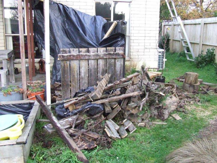 Chopping woodpile