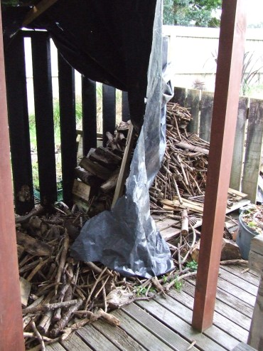 That patio woodpile area thing.
