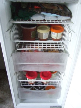 Of the five baskets in the 'preserving freezer', four now contain tomato soup, spring onion soup or frozen tomatoes.