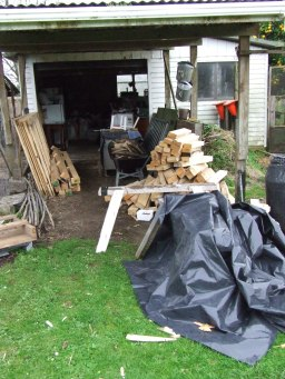 The garage carport is starting to look like a timber yard and access seems to be getting narrower.
