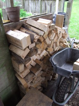 The Husband's new wood pile.