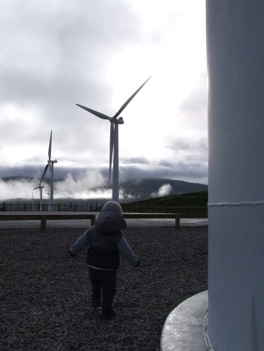 The base of a wind turbine is the on right.