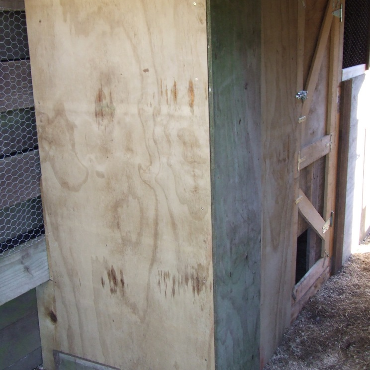 The chicken coop is finished! It is narrow but long.