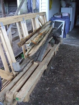 Long bits of wood that need to be cut up or stored.