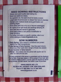 Seed sowing instructions.