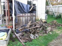 The future patio area/temporary woodpile thing got worse before it got better.