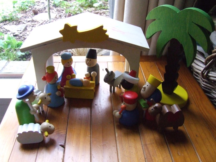 The Little Fulla has also been playing with this wooden nativity set that someone gave us. This has included trying to unlock baby Jesus with a key, extra visitors in the form of smurfs driving utility vehicles and drawing on the stable roof with forbidden felts.