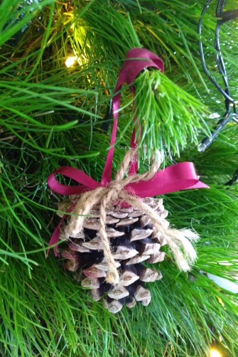 My handmade pinecone decorations return.