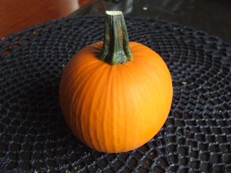 My prizewinning miniature pumpkin. The first produce prize I've won and I'm hooked in a very orange-tinted way.