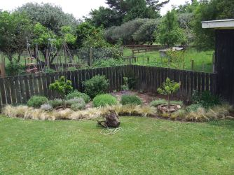 The Herb Garden near the end of 2017, post-stump removal. The plants have grown, there are no more stumps, stepping stones have been completed and new plants have been planted.
