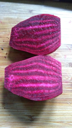 This beetroot has a striking colour and pattern.