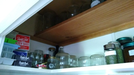 The top shelf of the pantry was cleared of stuff that didn't need to be there so I could fit more preserving jars in.