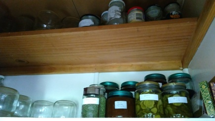 The top two pantry sheleves are now dedicated to preserving. And a little bit of chocolate. I just need to do some more preserving now.