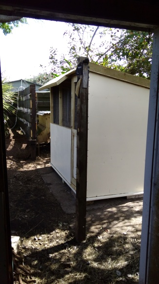 The walls, door panel, underside of the overhangs and floor edges sticking out were painted cream first.