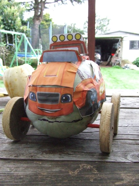 "The Husband's Pumpkin Racer, referred to by The Little Fulla as ""My Pumpkin Racer""."