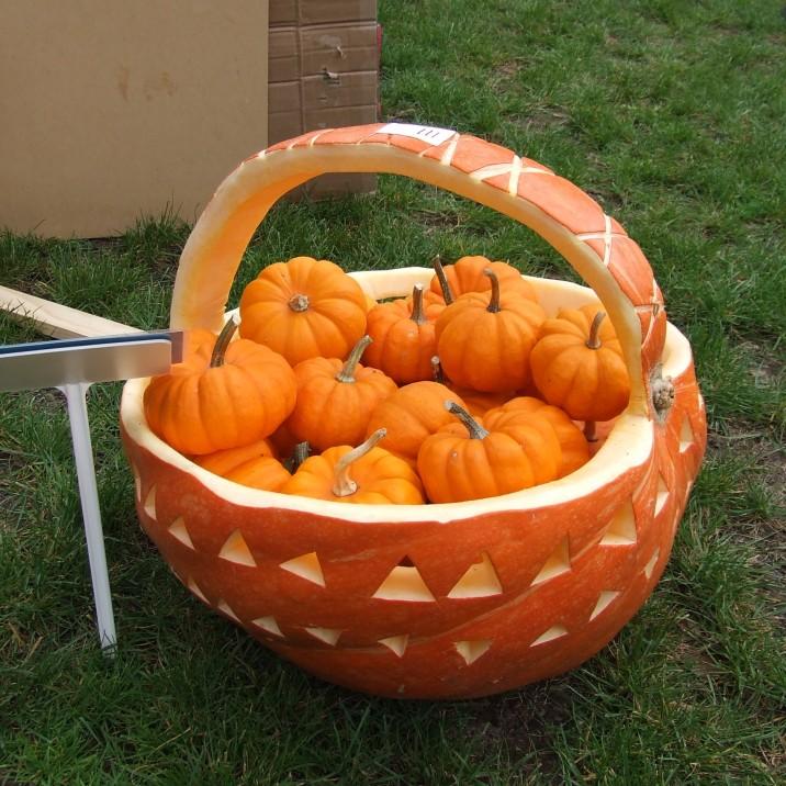 A carved pumpkin basket of pumpkins.