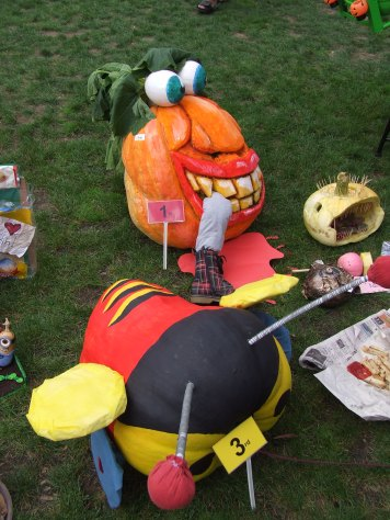 A man-eating pumpkin and a buzzy bee.
