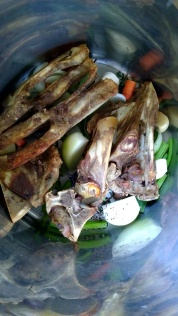 The pork bones were blanched, then roasted, then simmered with the other bits and pieces.