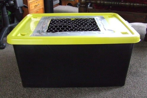 The brooder box.