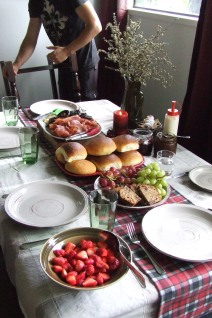Christmas brunch was a great idea. I made a heap of our favourite buns and The Husband cooked bacon, eggs and mushrooms. Chocolate tea bread came out of the freezer and strawberries and grapes topped it off.