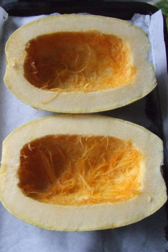 We cooked our first ever spaghetti squash.