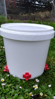 A 5L waterer is made with a food grade bucket, a 9.5mm drill bit and 3 water nipples that screw into the holes.