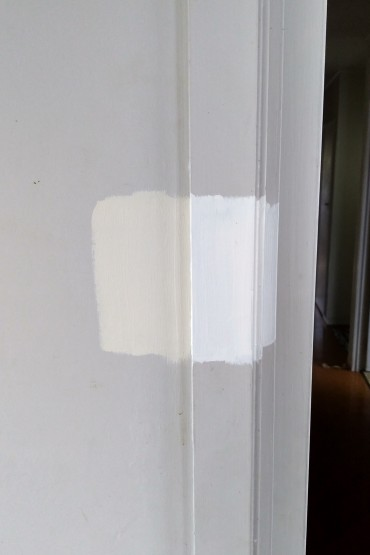 Test swatches: the plan to get rid of the grey. Apparently Eighth Canterbury Clay plus Quarter Villa White means the walls are going to be...