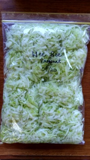 One rampant squash grated and bagged, ready for the freezer.