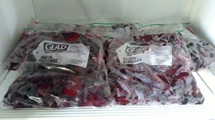 The plum flesh has entered the freezer!
