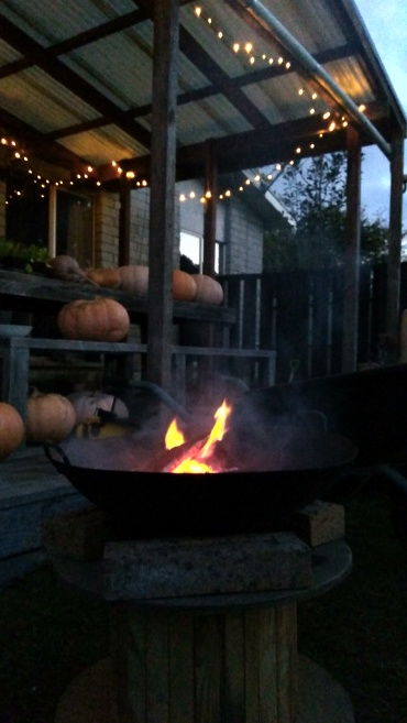 There's something magical about a fire at night time. With fairy lights. And giant pumpkins.