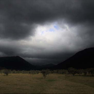 Stormy grey clouds above mountains and a plain with little shrubs